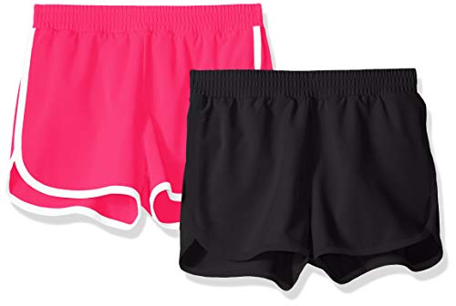Amazon Essentials Mädchen-Shorts, Active Wear, 2er-Pack, Black/Raspberry, US XS (EU 104-110 CM)