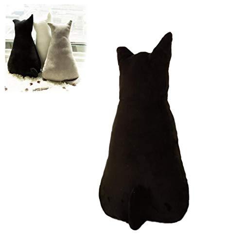OMMO LEBEINDR 1PC Lustige Katze geformte Kissen Stofftier Kissen Pet Sofa, Stuhl, Plüsch Werfen Kissen weicher Plüsch Puppen für Hauptdekoration Geschenke für Kinder (Schwarz, 17.7inch)