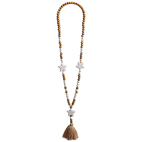 Lunji Gros Long Collier Femme, Collier Pendentif Pompon Perle Bois Naturel, Boheme Ethnique Style (Étoile)