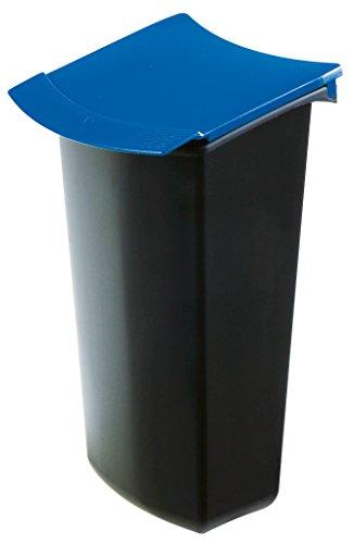 HAN 1843-14, Abfalleinsatz MONDO mit Deckel, Schick und Praktisch, Für die perfekte Abfalltrennung, 3 Liter, schwarz-blau
