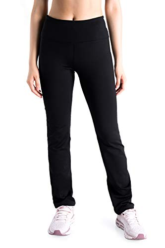 Yogipace Tall Women's 35' Fleece Lined Thermal Yoga Straight Leg Warm Sweatpants Winter Snow Pants with Zipper Pocket, Black, Size L