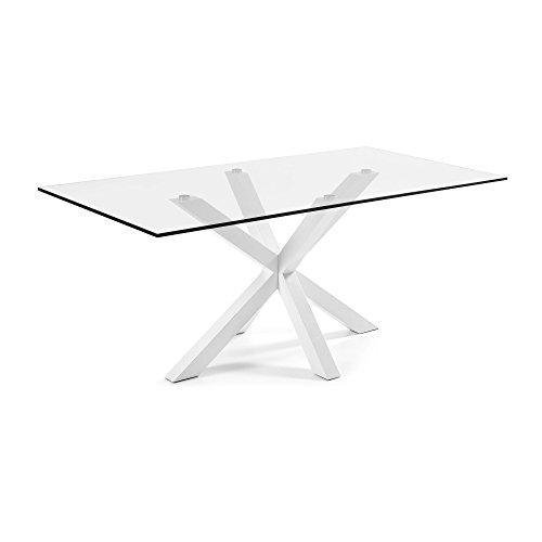 Kave Home - Tavolo Argo con piano in vetro e gambe in acciaio