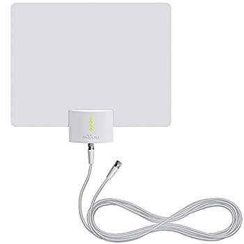 Mohu Leaf Ultimate V3 Amplified Indoor HDTV Antenna Signal Indicator 60-Mile Range UHF/VHF Multi-Directional Paper-Thin 16 ft Coaxial Cable 15dB Preamplified Reversible 4K-Ready MH-110153
