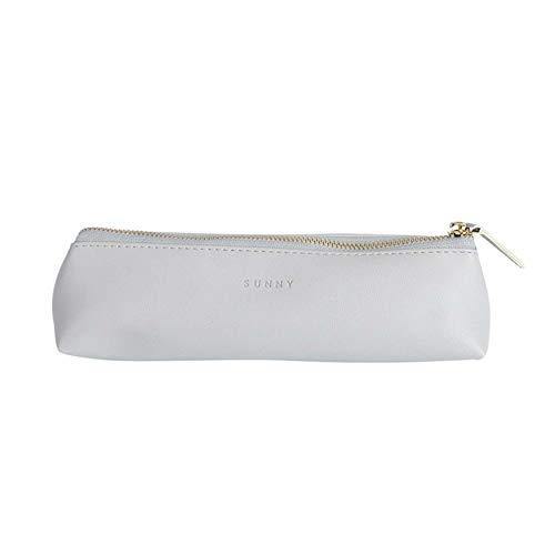 Fyore - Estuche de piel de lujo, diseño delgado con cremallera metálica, tamaño de bolsillo para bolígrafo y brocha de maquillaje, color rosa 20*5*4.4cm