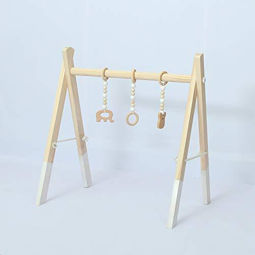 lulalula Gimnasio de madera del bebé con 3 juguetes de gimnasio plegable juego gimnasio marco actividad centro colgante bar regalo recién nacido bebé gimnasio