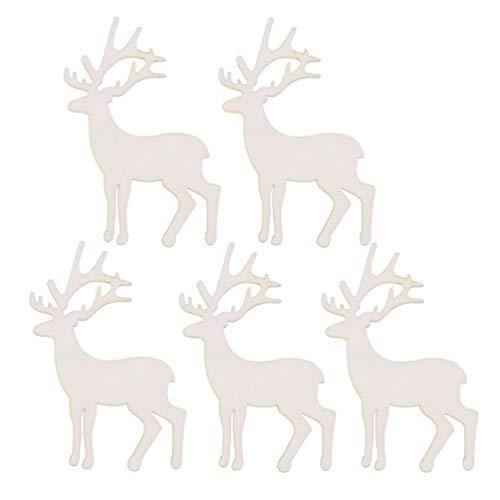 NUOBESTY 10Pcs Ritaglio Di Renna In Legno Rustico Albero Di Natale Decorazioni Appese Ornamenti Fetta Di Legno Per Abbellimento Fai Da Te Artigianato