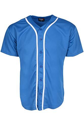 YoungLA Men's Baseball Jersey T-Shirts Plain Button Down Sports Tee 303 Royal Blue L