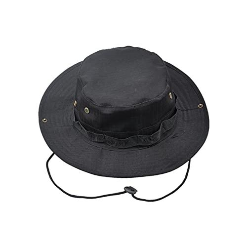 Sombrero de Pesca,Boonie Hat Sombrero de Verano con Correa de Barbilla Ajustable para Exteriores,Senderismo,Camping,Viajes Negro