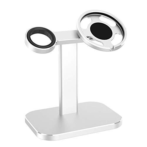 Soporte de aluminio para cargador inalámbrico 2 en 1, compatible con el cargador Magsafe y el cargador Apple Watch, base de estación de carga de escritorio ajustable, adecuado para iPhone 12 Pro Max