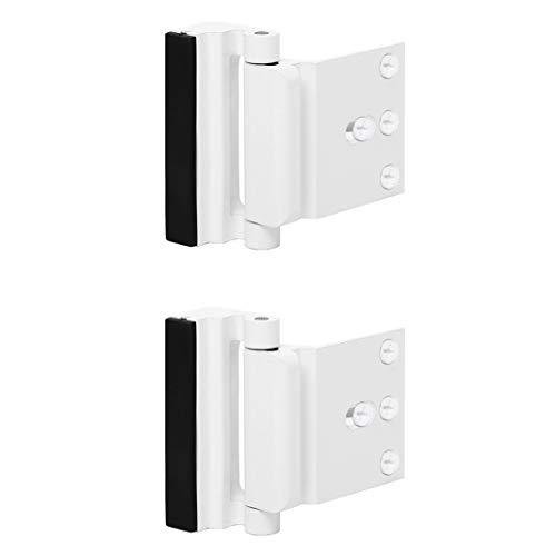 TOYFUL 2 Pack Door Reinforcement Locks with 8 Screws, Home Security Door Lock for Toddler, Childproof Door Lock Night Lock Withstand 800 Lbs White