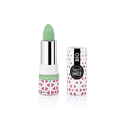 Charlotte Make Up - Le Correcteur Anti-Rougeurs Vert - Base de Teinte Stick - Maquillage Bio - Masquer Toutes les Imperfections - Long Tenue - 100% des Ingrédients d'Origine Naturelle