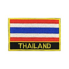 Thailand Flag Patch / International Embroidered Travel Patch Sew-On by Backwoods Barnaby (Thailand Iron On w/ Words, 2 x 3)