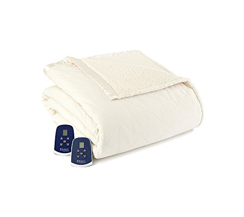 Shavel Home Products Micro Flannel Reverse to Sherpa Electric Heated Blanket, Ivory, Twin