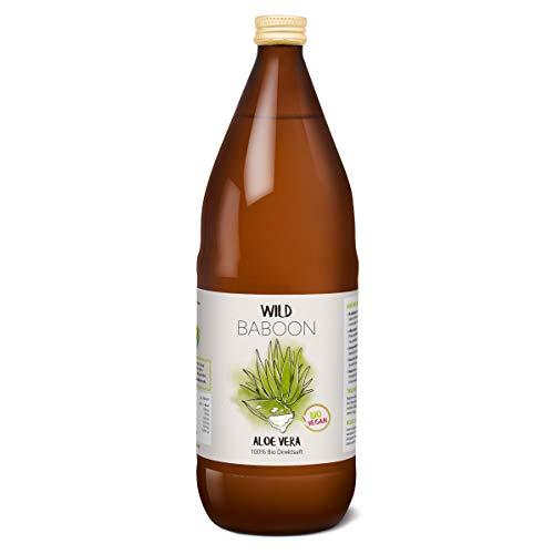 Wild Baboon Bio Aloe Vera Saft, 100% Direktsaft, 1200mg/Liter Aloverose, 1 Liter, nachhaltiger Anbau durch Familienbetrieb, Braunglas, Vegan, DE-ÖKO-005