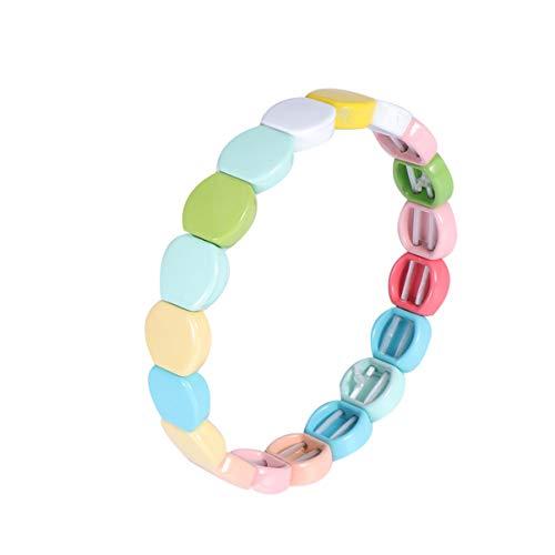 Healifty Waben Emaille Fliesen Armband Stapelbar Emaille Dehnbare Fliesen Armband Regenbogen Colorblock Perlen Armbänder für Frauen Männer