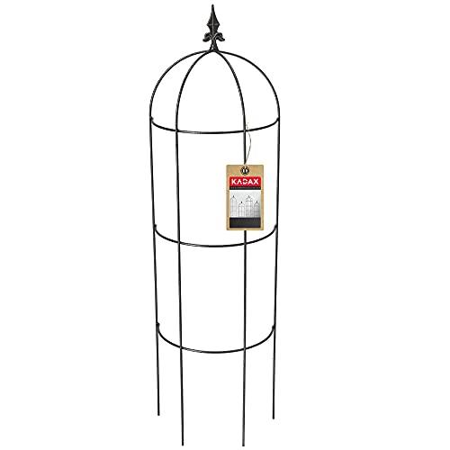 KADAX Rankobelisk aus pulverbeschichtetem Stahl, 3D-Rankobelisk, Rankhilfe, Obelisk, freistehende Ranksäule, Rankobelisk, Rankturm, Rankgitter (H: 120 cm, Halbrund)