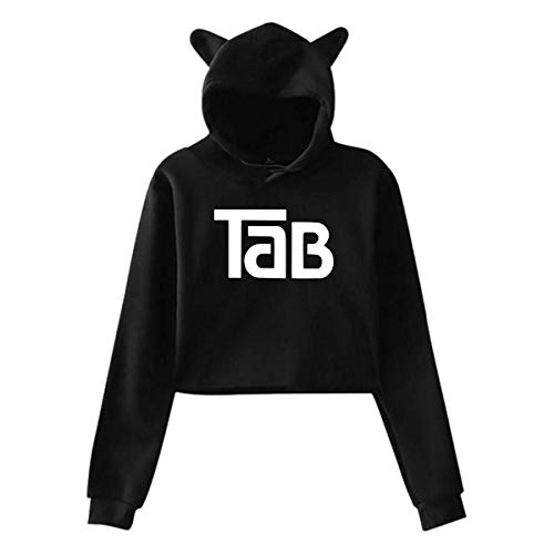 AOOEDM Tab Cola Soft Drink Women's Exposed Navel Cat Ear Hoodie Sweater Pullover Black