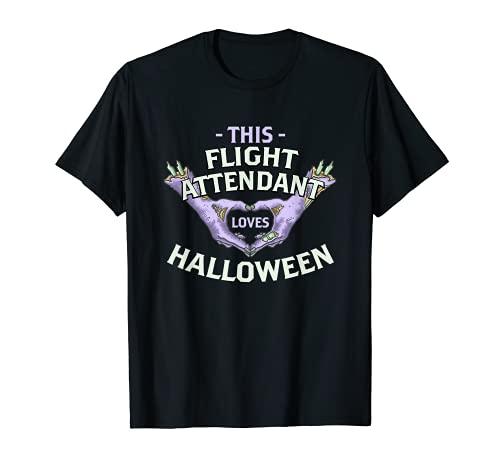 Este asistente de vuelo ama Halloween azafata zombi Camiseta