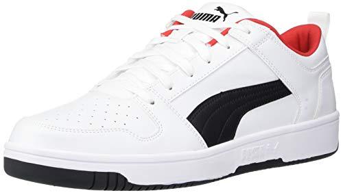 PUMA unisex adult Rebound Layup Lo Sneaker, Puma White-puma Black-high Risk Red, 13 US