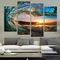 4 Panel Modern Seascape Painting Canvas Art Hdsea Wave Landscape Wall Picture for Bed Room Unframed