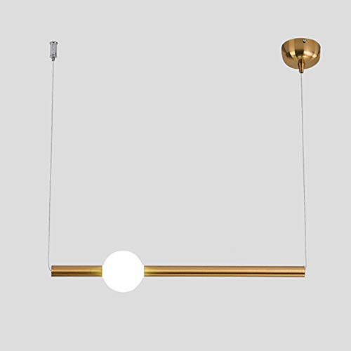 Lámpara colgante LED moderna 12W 3000K luz cálida Lámpara de mesa de comedor Suspension Lamp metal dorado y bola de cristal Lámpara colgante de altura ajustable Iluminación interior, L92CM