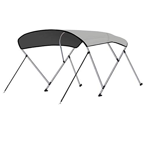 RVMasking 3 / 4Bow Bimini Top Boat Cover With 2 Rear Support Pole + 2 Straps + Storage Boot + 8 Deck Mounts, 800D Solution-dyed Fabric (3 bow: 6'L x 46' H x 73'-78' W, Gray)