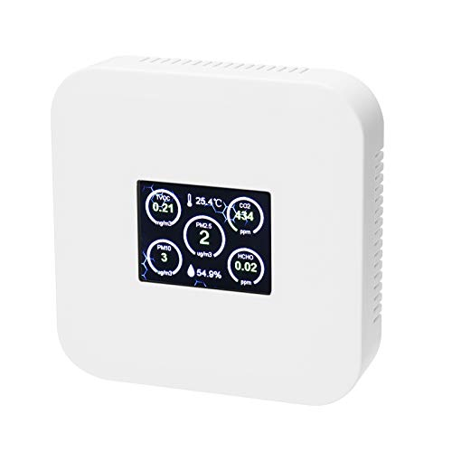 CO2-Messgerät KKmoon Kohlendioxid Detektor 0-5000ppm TVOC PM2.5 PM10 CO2-Detektor Formaldehyddetektor Hygrothermograph Luftqualitätsmonitor