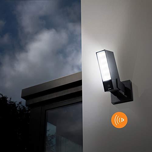 Netatmo Smarte Überwachungskamera für den Außenbereich mit 105 dB-Sirene, Wlan, Integrierte Beleuchtung , Bewegungserkennung, Nachtsicht, Ohne Abonnement, NOC-S-DE