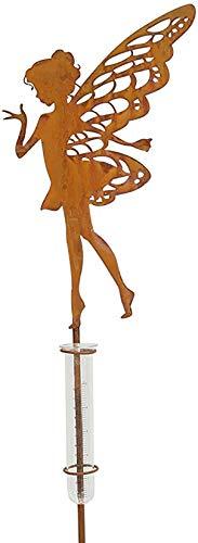 """Gartenstecker """"Fee"""" mit Regenmesser, 103 cm hoch, Deko Stecker Rost Optik Blumen Sticker Figur"""
