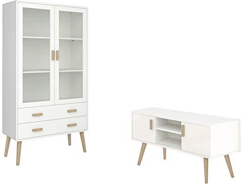 2-TLG. Design Wohnzimmer-Set TV-Bank Lowboard Fernsehschrank Vitrine Vitrinenschrank Skandinavisch MDF Glas (weiß & Natur)