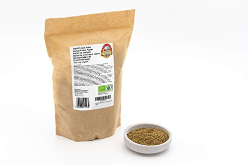 Poudre de protéine de chanvre biologique - 1 kg - 42% de protéines végétales - dégraissée, faible en glucides et sans gluten - végétalien - d'Autriche - aliments crus