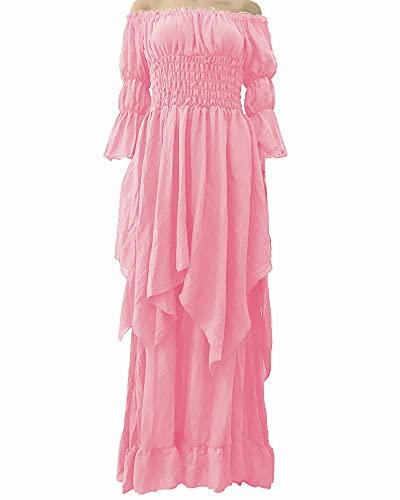 LY-VV Women Plus Size Off Shoulder Renaissance Medieval Dress Costume (L, z Pink)
