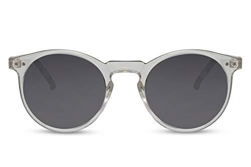 Cheapass Gafas de sol Sunglasses con montura redonda transparente con lentes oscuros con protección UV400, moda vintage para hombre y mujer