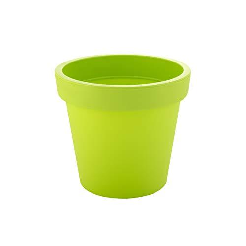 greemotion Maceta de Flores Anna 19,5 l para Interiores y Exteriores, Maceta Redonda de Plástico con Agujeros para Perforación, Aprox. Ø 35 cm, Verde Claro
