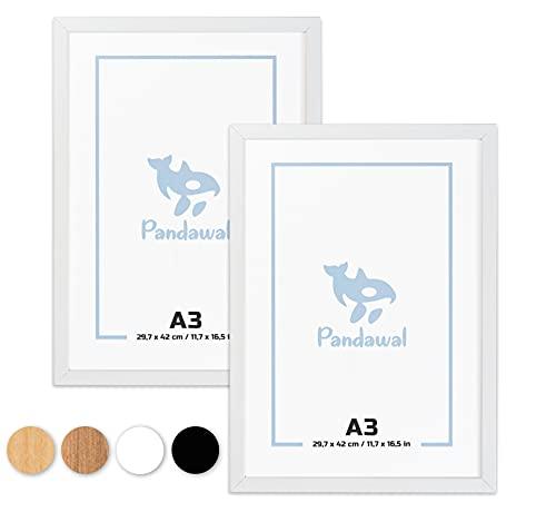 Pandawal® Bilderrahmen A3 Holz Weiß 2er-Set für Poster, Bilder und Fotos 30x42 cm Rahmen mit Plexi-Glas (DIN A3 29,7 x 42,0 cm)