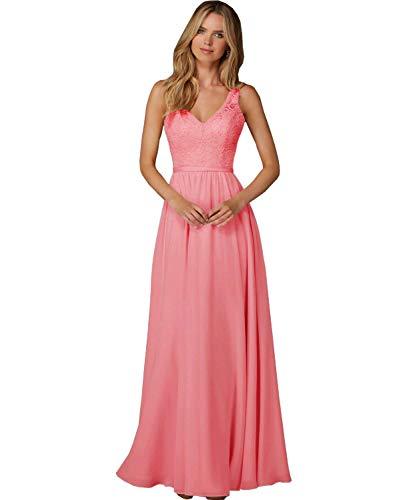 Meales Damen V-Ausschnitt Ballkleider Abendkleider Elegant Lang Chiffon Spitze Partykleider Brautjungfernkleider(Koralle,42)