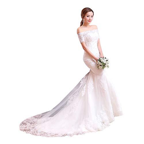 LYzpf Brautkleid Kleid Eine Schulter Meerjungfrau Damen Prinzessin Tuell Abendkleider Brautkleider Quinceanera Kleider Ballkleid Brautmode Designer Braut Hochzeitskleider,UK-2