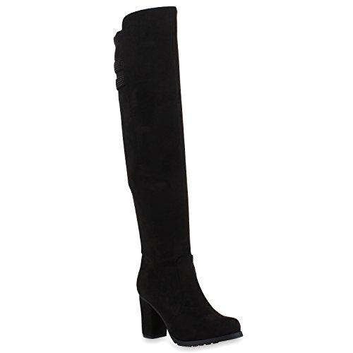 Modische Damen Stiefel Profilsohle Overknees Block Absatz Schuhe 108006 Schwarz Strass 37 Flandell