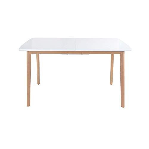 SENJA - Mesa Extensible 120/160 x 80 cm - Tablero de MDF - Diseño Moderno y Minimalista - Mantenimiento Fácil - Blanca