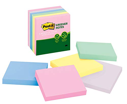 Post-it Greener Notes, 3x3 in, 6 Pads, Americas #1 Favorite Sticky Notes, Helsinki Collection, Pastel Colors (Pink, Blue, Mint, Yellow), Clean Removal, 100% Recycled Material (5416-RP-AP)