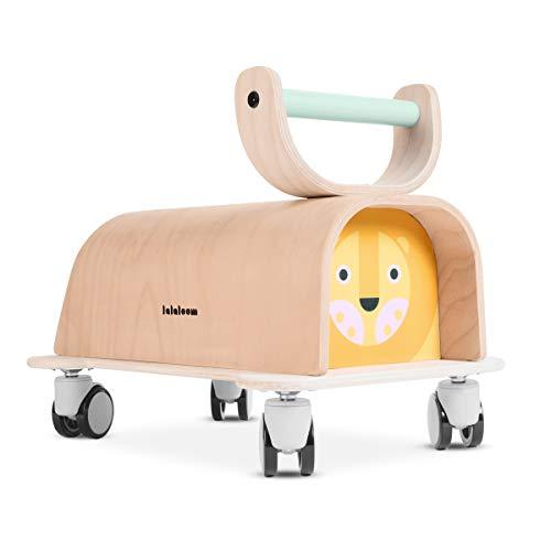 Lalaloom LIONER - Andador para bebe de madera natural (diseño león, correpasillos para equilibrio, caminador con ruedas de 360 grados), 40x27x35 cm, color Amarillo