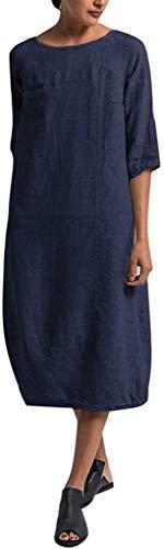 HX fashion Leinenkleid Damen Frühling Und Sommer Lang Tunika Kleid Vintage Baggy Party Kleider Kleid Strandkleid Größe Größe Mit Schwarz Armee Grün Rot (Color : Z-Z-D-6, One Size : XL)