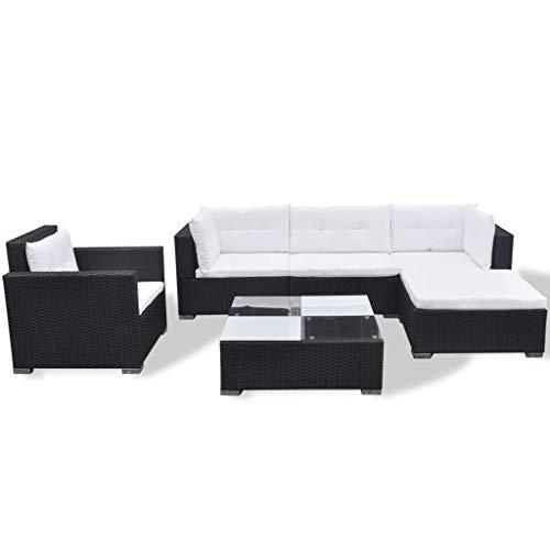 SCJ Juego de salón de jardín, 17 Piezas, Asiento de sofá de Patio Exterior Negro de ratán polivinílico