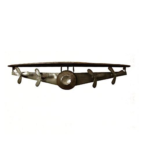 ZLP Drijvende Wandplank, Vliegtuig Vorm Suspensie Rack, Antieke Multifunctionele Iron Art Nordic Milieubescherming, 112X31X21Cm, 2 Kleuren ZILVER