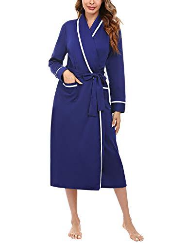 Aibrou Bademantel Damen Baumwolle Morgenmantel Langarm Nachtwäsche V-Ausschnitt Saunamantel Schlafanzug mit 2 Taschen und Gürtel Hellblau S