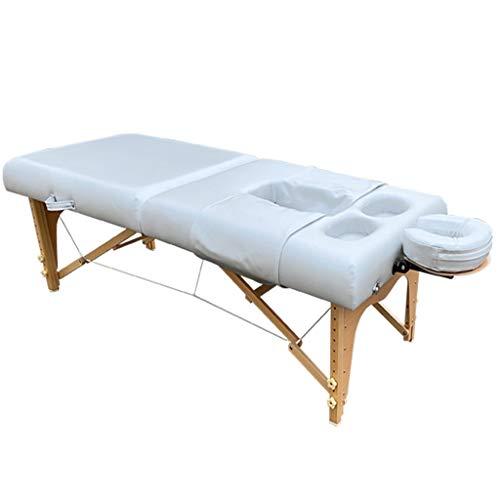 YCDJCS Cama de Mesa de Masaje Sofá de Belleza de 2 Secciones Portátil portátil Profesional Plegable con Patas de Madera para Terapia Salon Reiki Healing SPA Relájese Sillas y taburetes