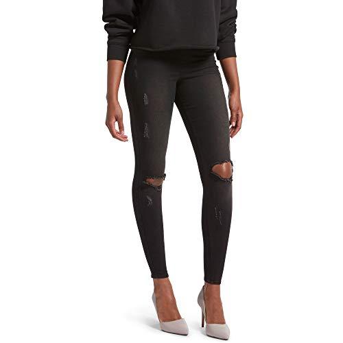 Kendall + Kylie Women's Ripped Denim Leggings, BLACK WASH, Large