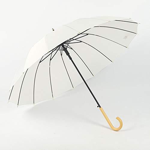 YHX Paraguas de Lluvia Simple, Paraguas Recto pequeño y Fresco de 16 Huesos, Regalo de Mango de Madera Retro, Paraguas Recto de Regalo(Color:E)