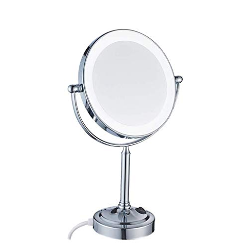 XYSQWZ Makeup Mirror Cosmetic Vanity Mirror Led 8-inch Cosmetic Mirror Desktop Double-sided Lamp 7x Magnifying Mirror Lighted (color : Silver Size : 8 Inches 7x)