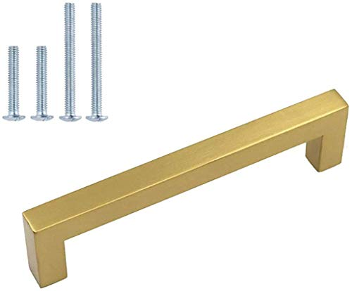 homdiy (6 Pack) Kitchen Cabinet Handles Modern Drawer Pulls - HDJ12GD Brushed Brass Cabinet Pulls Square Bar Pulls for Cupboard Doors, 4in Hole Centers